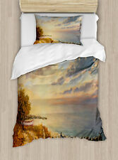 Art Twin Size Duvet Cover Set Romantic Sunrise by Sea with 1 Pillow Sham