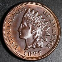 1887 INDIAN HEAD CENT - With LIBERTY & 4 DIAMONDS - Choice AU+ UNC