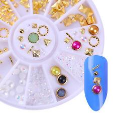 Gold Rivet Nail Studs Triangle White Pearl Bead Mixed 3D Nail Art  Decoration