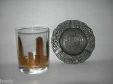 Vintage~New York Nyc Scenes~Souvenir Set~Whiskey Glass & Ashtray~Liberty-Towers