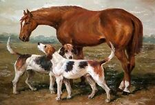 Stunning Oil painting red horse with two dogs in landscape canvas handpainted