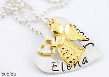 HERZKETTE MIT WUNSCHNAMEN, 925 Silber, 24K Gold, Kugelkette, Schutzengel, Herz