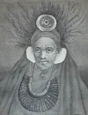 CHEF INDIGENE DE L'ISLE DE SAINTE CHRISTINE Gravure Voyage de COOK 1778