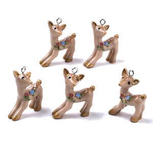 10pcs Camel Resin Pendants Cute Sika Deer Dangle Charms DIY Crafting 30.5~31.5mm