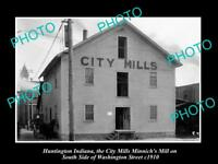 OLD LARGE HISTORIC PHOTO OF HUNTINGTON INDIANA THE CITY MILLS STORE c1910