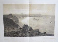 Grande Lithographie en deux tons - Panorama de Biarritz - Pyrénées - Circa 1850