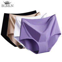 Women's Soft Ice Silk Seamless Mid Waist Briefs Panties High Quality Underwear