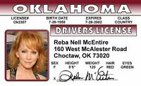 REBA McEntire Country Music Star  -  ID card Drivers License