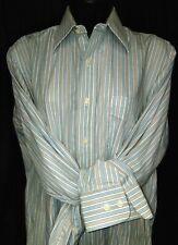 CUSTOM Saddle Seat shirt ladies sz 38 brown/blue/white striped VGC