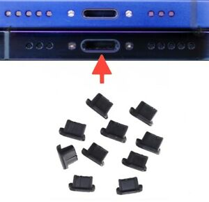 10x DUST PLUG CHARGING PORT STOPPER BLACK FOR IPHONE 12 / 12 PRO / 12 MINI