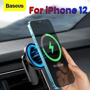 Baseus Car Magnetic Wireless Fast Charger Holder Air Vent Mount For iPhone 12