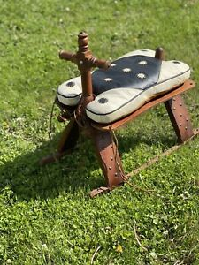 Antique Wood Camel Bench Foot Stool Leather Saddle & Rocker & Brass Stud Accents