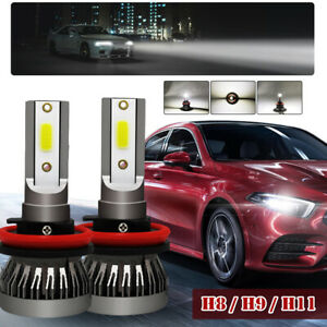 Pair H9/H8/H11 LED Headlight Kit 255000LM Beam Bulb 6000K HID 360° Car Fog Light