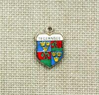Silber TEGERNSEE Bettelarmband Anhänger Wappen silver pendant emaille charm RAR