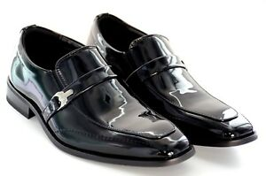 Men wedding Dress Shoes  Patent Leather Tuxedo Strap and Buckle Slip-on loafer