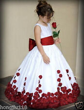 Red And White Bow Knot Rose Satin Ball Gown Wedding Flower Girl Dresses Crew ~