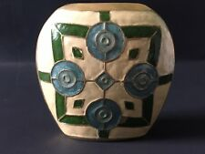 Vintage Enamel Solid Brass Hand Painted Vase Made In India