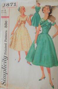 Vintage Simplicity Sewing Pattern #1871 Misses Size 14 Princess Party Dress