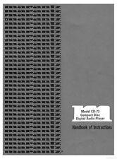 Marantz CD-73 CD Player Owners Instruction Manual