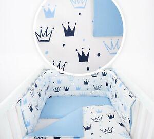 CROWN Design BABY BEDDING SET COT/ COT BED inc BUMPER+COVERS+DUVET+ FLAT PILLOW
