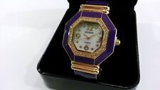 Gossip Quartz Watch Girls Woman Mother of Pearl Face Crystals Purple GOLDENTONE