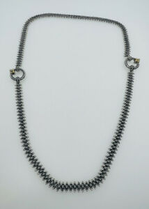 Barbara Bixby Sterling Silver & 18k Gold Unusual Long Chain Necklace