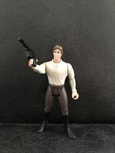 """1996 Han Solo in Brown Pants 4"""" Hasbro Kenner Toy Star Wars With DL-44 Blaster"""