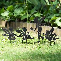 Set of 4 Fairies Metal Fairy Garden Stake Silhouettes Decorative Ornament Figure