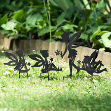 Set of 4 Fairies Metal Fairy Garden Stake Silhouettes Decorative Ornament Figure