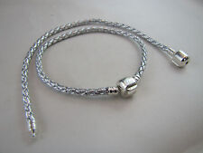18cm SP PRETTY SILVER BRAIDED LEATHER CHAINS FOR EUROPEAN STYLE CHARM BRACELETS