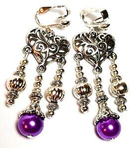 Silver Chandelier Purple Pearl Clip-On Earrings Glass Bead Antique Vintage Style