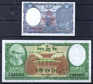 NEPAL P-1 1 mohru (1951), P-15 100 Rupees 1961 UNC RARE