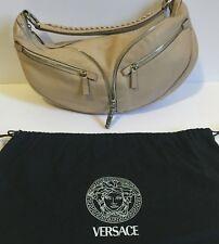4a6ae86d3ac Versace Women s Handbag Beige Brown Leather Hobo Bag Zipper Logo 100%  Authentic