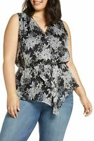 Vince Camuto Womens Blouse Deep Black Size 1X Plus Floral Print $109 474