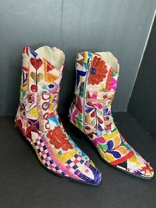 Momo X Free People Embroidered Sunny Days Ankle Boots Vintage Sari's Sz 8 38 NEW