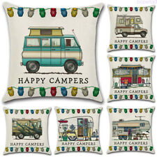 Cartoon Happy caravan Cotton Linen Pillow Case Sofa Throw Cushion Cover 45cm