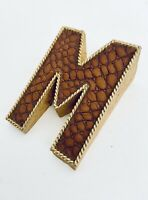 """Solid Heavy Brass M Alphabet Letter Paper Weight Leather 2"""" W X 2.75"""" H X """" D"""