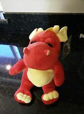 New Toy Factory Stuffed Plush Dragon Bright Red & Pink Tummy & White Horns