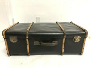 Vintage BLACK STEAMER TRUNK chest coffee table storage box rustic suitcase decor
