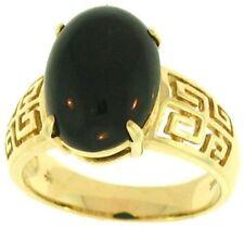Natural Black Nephrite Jade Oval Stone Ring w/14K Yellow Gold 'Key' Design Shank