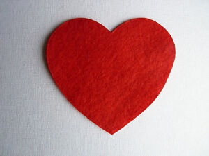 4 x RED FELT HEART DIE CUT SHAPES APPLIQUE BUNTING DECORATION