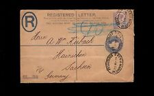 England Registered Letter Uprated Pse Victoria 1901 Blue Auxiliary Cover 9o