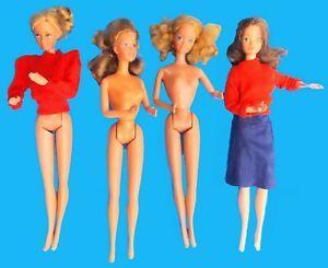 Four Vintage 1980's Barbie Dolls Twist & Turn: Fixed Elbows: Turn Shoulders Good