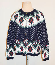 Nos Nwt Vintage 90's Izod Ugly Christmas Button Down Cardigan Sweater - Large