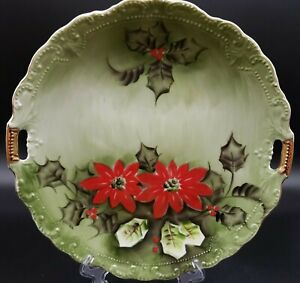 LEFTON Poinsettia Hand Painted Handled Cake Plate