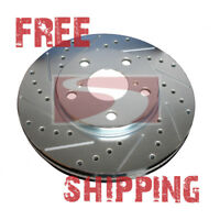 FRONT + REAR SET Performance Cross Drilled Slotted Brake Disc Rotors TBS18228