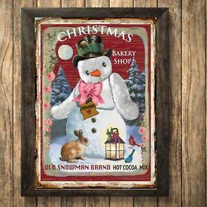 Christmas Snowman santa Print Hot Chocolate Sign,Picture Wall Decor, a4 Unframe