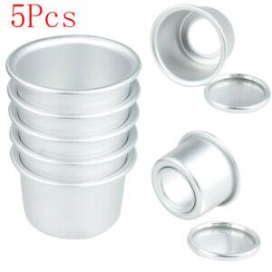 5x Sturdy Aluminum Cake Dessert Pans Cups Mold Removable Bottoms DIY Baking Tool