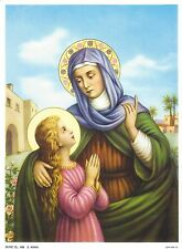 """Catholic Print Picture St. ANNE w/ Blessed Virgin Mary 7 1/2 x 10"""""""