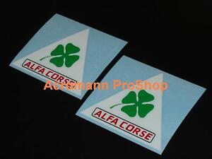 """2x 3"""" 7.6cm Alfa Corse clover romeo decal sticker Quadrifolio Alfetta Giulietta"""